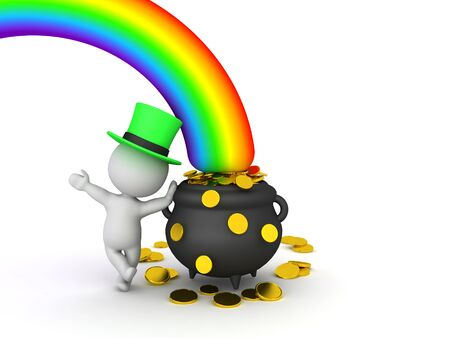 3D Leprechaun leaning on pot of gold at the end of the rainbow. 3D Rendering isolated on white.