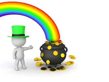 3D Leprechaun showing pot of gold at the end of the rainbow. 3D Rendering isolated on white.