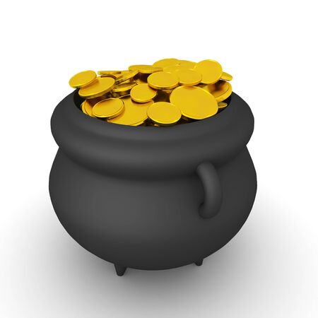 3D Rendering of magical pot with gold coins. 3D Rendering isolated on white.