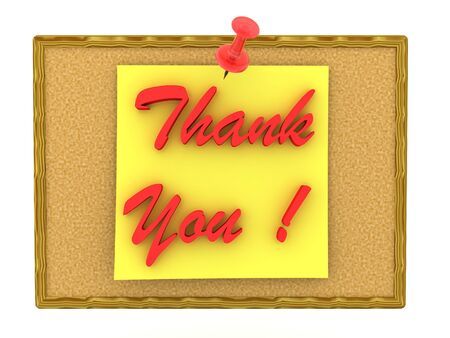 3D Rendering of  note saying Thank you pinned on cork board. 3D Rendering isolated on white.