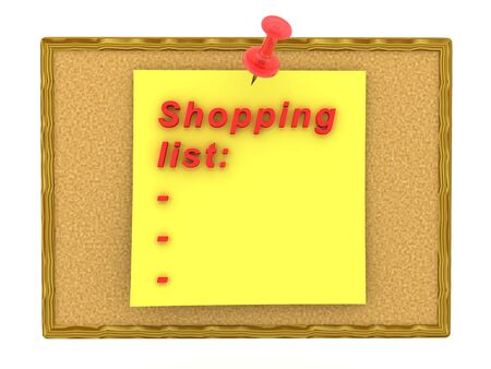 3D Rendering of yellow sticky note saying Shopping list. 3D Rendering isolated on white. Stockfoto