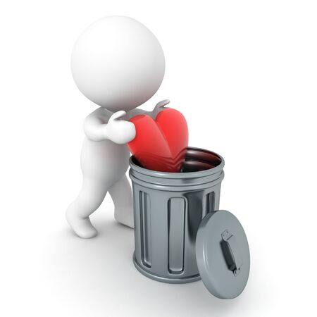 3D Character putting red heart in a garbage can. 3D Rendering isolated on white. Stockfoto
