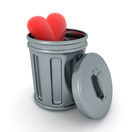 3D Rendering of heart in retro garbage can. 3D Rendering isolated on white. 写真素材