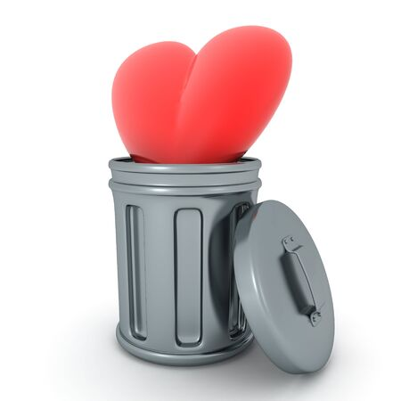 3D Rendering of red cartoon heart thrown in trash can. 3D Rendering isolated on white.