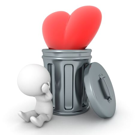 3D Character stressed next to heart thrown in garbage can. 3D Rendering isolated on white.