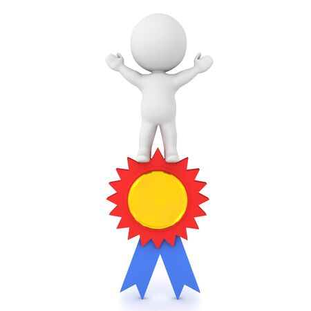3D Character standing victorious on award badge. 3D Rendering isolated on white.
