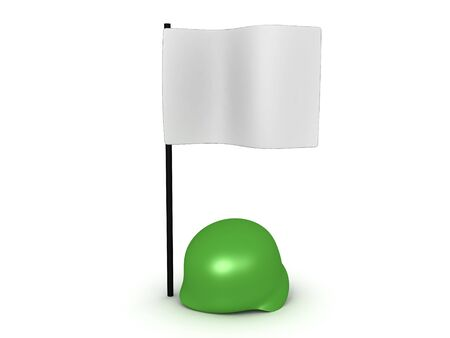 3D Rendering of military helmet under white flag. Image can relate to a surrender situation. 3D Rendering isolated on white.