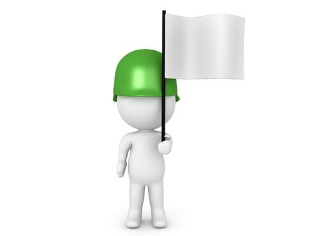 3D Soldier holding a white flag. Image can relate to a surrender situation. 3D Rendering isolated on white.