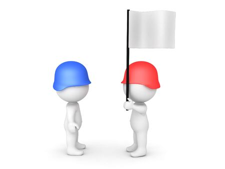3D Red solider surrendering to blue soldier. Image can relate to a surrender situation. 3D Rendering isolated on white.