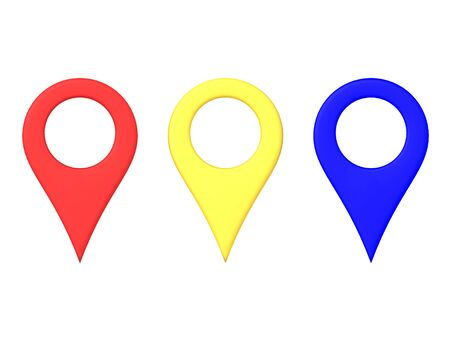3D Rendering of red yellow and blue map location pins. 3D Rendering isolated on white.
