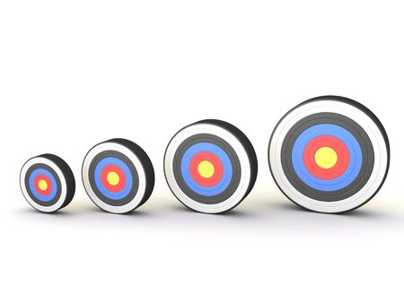 3D Rendering of increasingly larger targets. 3D Rendering isolated on white. 스톡 콘텐츠