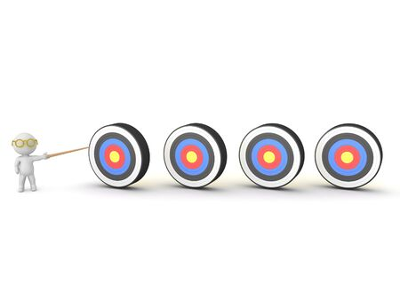 3D Character showing four targets. 3D Rendering isolated on white. 스톡 콘텐츠