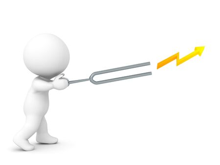 3D Character wielding a tunning fork that is firing lightning. 3D Rendering isolated on white.