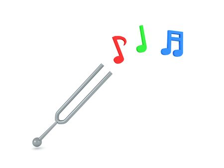 3D Rendering of tunning fork with musical notes coming out it. 3D Rendering isolated on white.