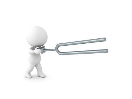 3D Character wielding a tunning fork. 3D Rendering isolated on white.