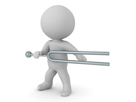 3D Character holding tunning fork as a weapon. 3D Rendering isolated on white.