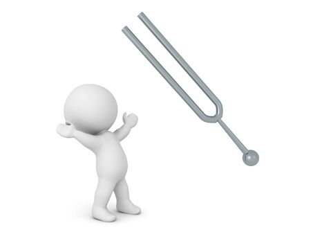 3D Character looking up excited at tunning fork. 3D Rendering isolated on white.