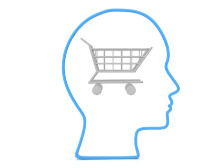 3D Outline of head with silver shopping cart inside. Thinking of shopping concept. 3D Rendering isolated on white.