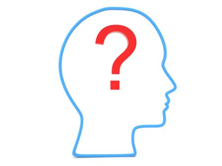 3D Outline of head with question mark inside it. 3D Rendering isolated on white.
