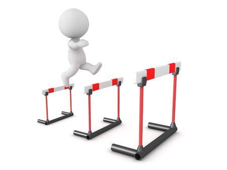 Personnage 3D sautant par-dessus des obstacles de plus en plus grands. rendu 3D isolé sur blanc.