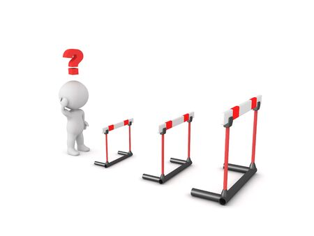 3D Character having doubts about overcoming obstacles. 3D Rendering isolated on white.