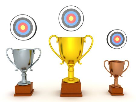 3D Rendering of different trophies with targets above them. 3D Rendering isolated on white. Фото со стока - 129242771