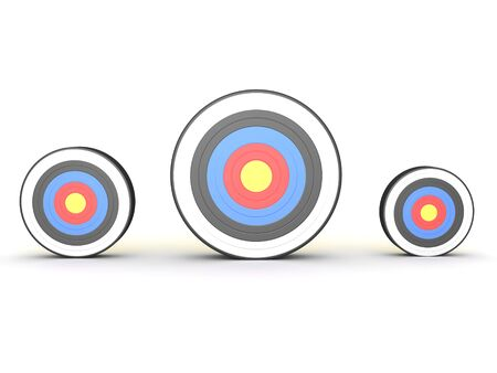 3D Rendering of three different size targets. 3D Rendering isolated on white.