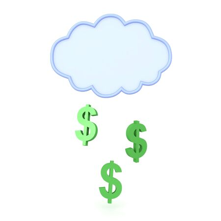 3D Rendering of could raining money. 3D Rendering isolated on white. 写真素材