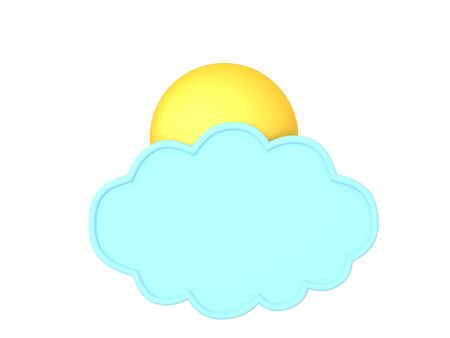 3D Rendering of light blue cloud with sun behind it. 3D Rendering isolated on white. Stok Fotoğraf