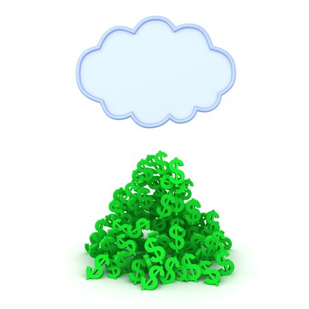 Rendering of pile of dollars money bellow cloud. 3D Rendering isolated on white. 写真素材