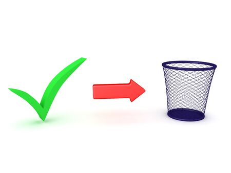 3D Rendering of green checkmark next to red arrow towards waste basket. Scrapping a project concept. 3D rendering isolated on white. Stockfoto