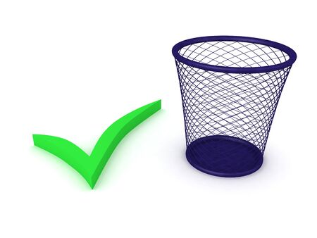 3D Rendering of green checkmark next to waste bin. 3D Rendering isolated on white.