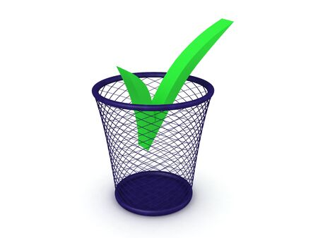3D Rendering of green checkmark in the trash can. 3D Rendering isolated on white.
