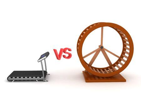 3D Rendering of hamster wheel versus treadmill. 3D Rendering isolated on white. Standard-Bild - 130495776