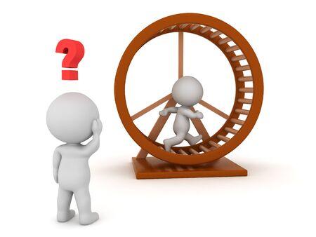 3D-Charakter läuft auf Hamsterrad und ein anderer sieht verwirrt aus. Wiedergabe 3D getrennt auf Weiß.