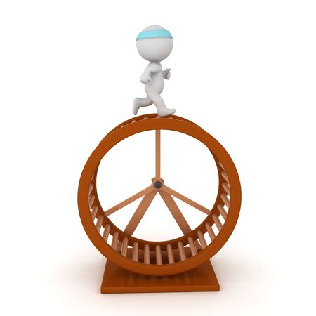3D Character running on top of hamster wheel. 3D Rendering isolated on white. Standard-Bild - 130495778