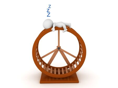 3D Character sleeping after running on hamster wheel. 3D Rendering isolated on white. Banco de Imagens - 131682945