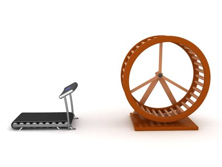 3D Rendering of hamster wheel versus treadmill. 3D Rendering isolated on white. Standard-Bild - 131682952