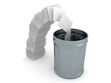 3D Rendering of trash can next to crumbling paper stack. 3D Rendering isolated on white. Stok Fotoğraf