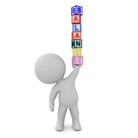 3D Character holding up a stack of letters saying balance. 3D Rendering isolated on white.