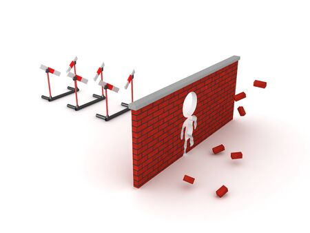 3D Rendering of three broken hurdles and smashed brick wall. Overcoming limitations concept.