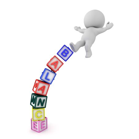 3D Character losing his balance of off blocks spelling balance. 3D Rendering isolated on white. Reklamní fotografie