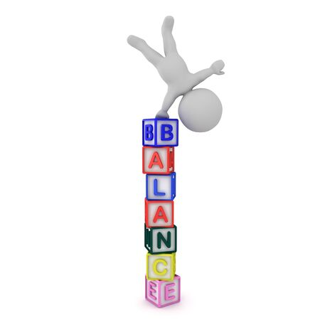 3D Character doing a handstand on letters spelling Balance. 3D Rendering isolated on white.