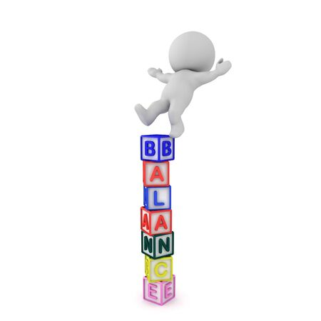 3D Character falling off letter blocks saying balance. 3D Rendering isolated on white.