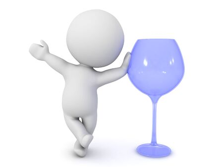 3D Character leaning on wine glass. 3D Rendering isolated on white. Imagens