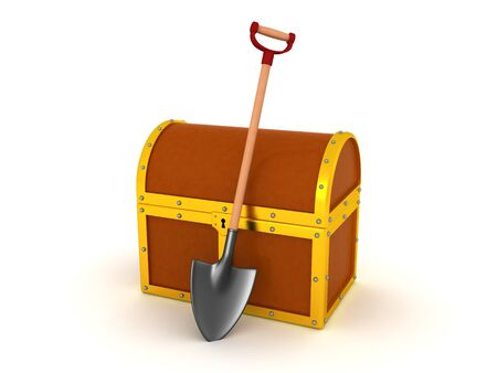 3D Rendering of shovel next to treasure chest. 3D Rendering isolated on white.