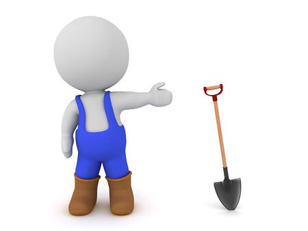 3D Worker showing shovel. 3D Rendering isolated on white.