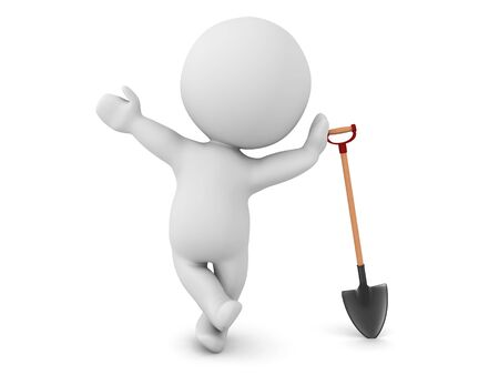 3D Character leaning on shovel. 3D Rendering isolated on white.