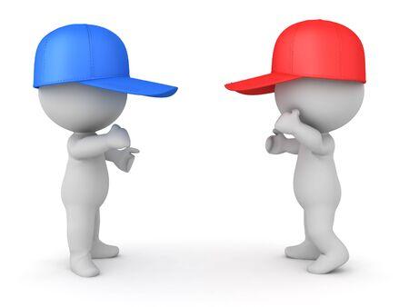 Deux personnages 3D avec des bonnets rouges et bleus se battent. rendu 3D isolé sur blanc.