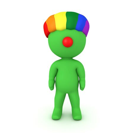 3D Green character wearing rainbow clown wig. 3D Rendering isolated on white. 스톡 콘텐츠